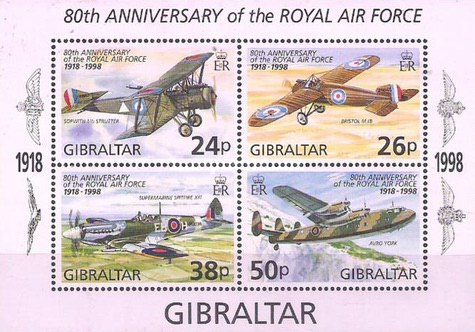 Gibraltar 1998 - Royal Air Force, aviatie, bloc neuzat