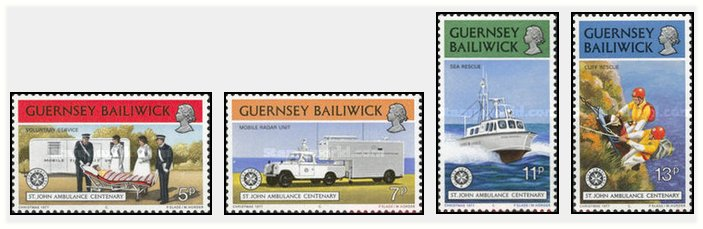 Guernsey 1977 - 100th Ambulance Association, serie neuzata