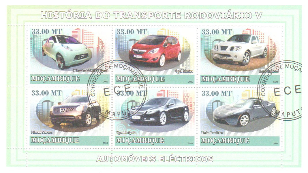 Mozambic 2009 - automobile electrice, bloc stampilat