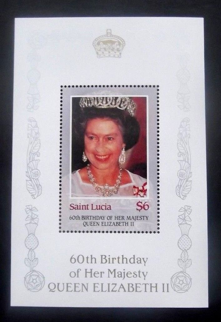 Saint Lucia 1986 - 60th Queen Elizabeth, colita neuzata
