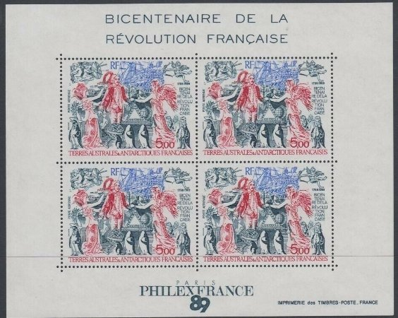 French South and Antarctic Terr. 1989 - Philexfrance, bloc neuza